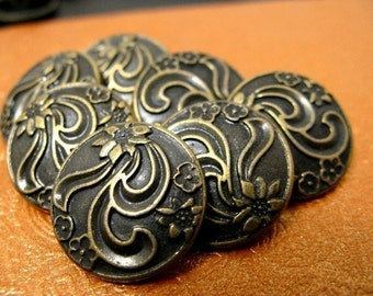 Metal Buttons - Ribbon Art Flower Metal Buttons , Antique Brass Color , Shank , 0.71 inch , 10 pcs