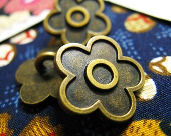 Metal Buttons - Vinca Flower Metal Buttons , Antique Brass Color , Shank , 0.91 inch , 10 pcs