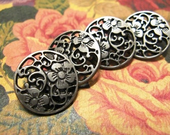Metal Buttons - Flower Vine Metal Buttons , Nickel Silver Color , Openwork , Shank , 1 inch , 10 pcs