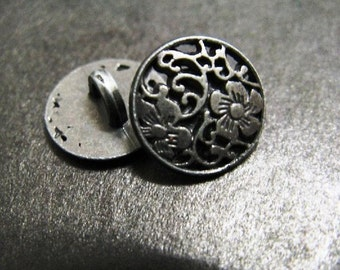 Metal Buttons - Flower Vine Metal Buttons , Nickel Silver Color , Shank , 0.71 inch , 10 pcs