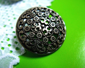Metal Buttons - Openwork HOYA Gunmetal Buttons.0.79 inch. 10 in a set