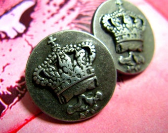Metal Buttons - CROWN Metal Buttons , Gunmetal Color , Shank , 0.67 inch , 10 pcs