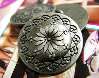 Metal Buttons - Flower Mandala Metal Buttons , Silver Color , Shank , 0.79 inch , 10 pcs