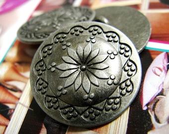 Metal Buttons - Flower Mandala Metal Buttons , Silver Color , Shank , 0.79 inch , 10 pcs