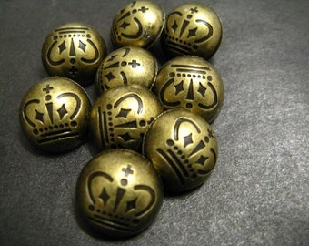 Metal Buttons - Crown Metal Buttons , Antique Brass Color , Domed , Shank , 0.59 inch , 10 pcs