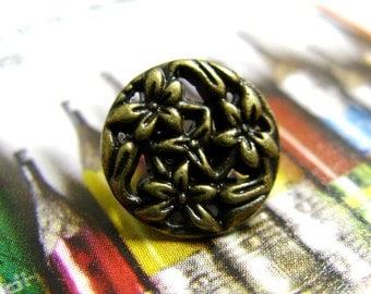 Metal Buttons - Bouquet Metal Buttons , Antique Brass Color , Openwork , Shank , 0.43 inch , 10 pcs