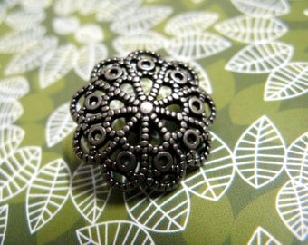 Metal Buttons - Floral Filigree Metal Buttons , Nickel Silver Color , Domed , Shank , 1 inch , 6 pcs