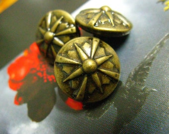 Metal Buttons - Gladiator Shield Metal Buttons , Antique Brass Color , Shank , 0.71 inch , 10 pcs