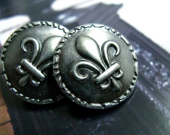 Metal Buttons - Fleur-De-Lis Metal Buttons , Nickel Silver Color , Shank , 0.91 inch , 10 pcs