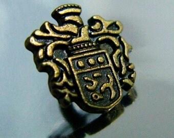 Metal Buttons - European Imperial Royal Emblem Metal Buttons , Antique Brass Color , Shank , 0.47 inch , 10 pcs