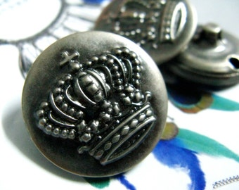 Metal Buttons - CROWN Metal Buttons , Gunmetal Color , Shank , 0.79 inch , 10 pcs