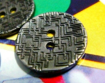 Metal Buttons - Pipe Maze Metal Buttons , Gunmetal Color , 2 Holes , 0.71 inch , 10 pcs