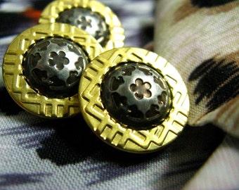 Metal Buttons - Floret Hemisphere and Golden Border Metal Buttons , Shank , 0.67 inch , 10 pcs