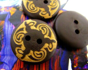 Wooden Buttons - Flowery Circle Pattern Wooden Buttons, 0.79 inch , 10 pcs