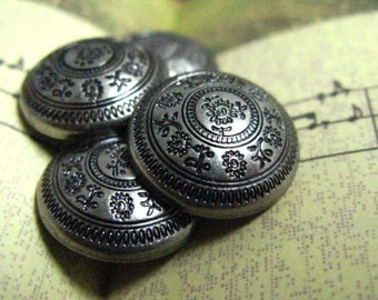 Metal Buttons - Flowers Concentric Metal Buttons , Gunmetal Color , Domed , Shank , 0.59 inch , 10 pcs