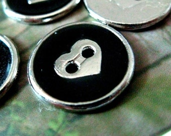 Metal Buttons - Heart in Black Enamel Metal Buttons , Silver Color , 2 Holes , 0.59 inch , 10 pcs