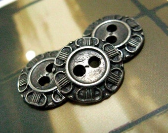 Metal Buttons - Petals Border Metal Buttons , Nickel Silver Color , 2 Holes , 0.51 inch , 10 pcs