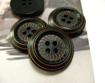 Wooden Buttons - Full Daisy Bloom Pattern Thick Edge Black Wood Buttons, 0.98 inch. 10 pcs