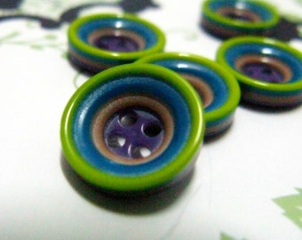 Mini Plastic Buttons - 10 Pieces of Forest Green Theme Color Fringe Recessed Center Buttons. 0.51 inch