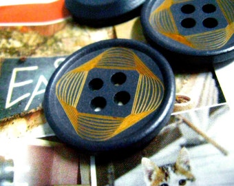 Wooden Buttons - Special Bezier Curves Pattern Blue Color Wooden Buttons, 1.10 inch. 10 pcs