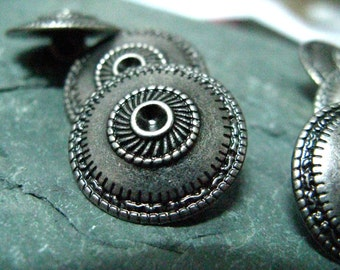 Metal Buttons - Conical Shield Metal Buttons , Nickel Silver Color , Shank , 0.79 inch , 10 pcs