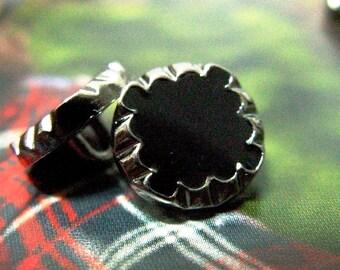 Metal Buttons - Black Enamel Flower Metal Buttons , Shank , 0.47 inch , 10 pcs