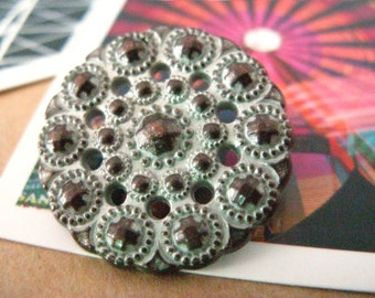 Metal Buttons - Beads Flower Metal Buttons , Copper White Patina Color , Shank , 0.95 inch , 10 pcs
