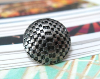 Metal Buttons - Lattice Metal Buttons , Nickel Silver Color , Domed , Shank , 0.59 inch , 10 pcs