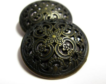 Metal Buttons - Opeowork Floral Engraving Metal Buttons , Antique Brass Color , Domed , Shank , 1 inch , 10 pcs