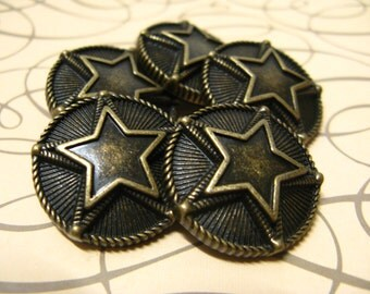 Metal Buttons - Double Stars Metal Buttons , Antique Brass Color , Shank , 0.59 inch , 10 pcs