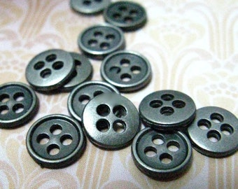 Metal Buttons - Super Mini Metal Buttons , Nickel Silver Color , 4 Holes , 0.31 inch , 10 pcs