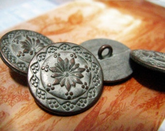 Metal Buttons - Flower Mandala Metal Buttons , Copper White Patina Color , Shank , 0.79 inch , 10 pcs