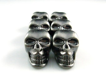 Metal Buttons - Skull Metal Buttons , Nickel Silver Color , Shank , 1 inch , 6 pcs