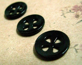 10 Lovely Small 4 Melon Seeds Shape Hole Black Buttons. 0.51 inch