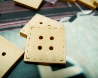 Square Wooden Buttons -  Elegant Sewing Edge Effect Square Wood Buttons. 0.79 inch. 6 in a set