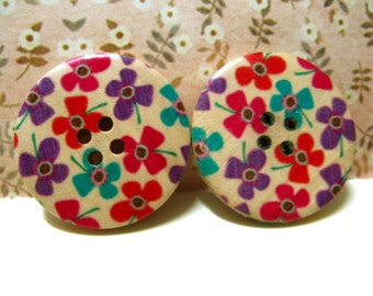 Flower Wooden Buttons - Colorful Scattered Floret picture Natural Wood Buttons, 1.18 inch (6 in a set)