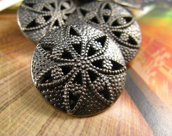 Star Anise Pierced Carving Gunmetal Buttons, 0.79 inch, 10 pcs