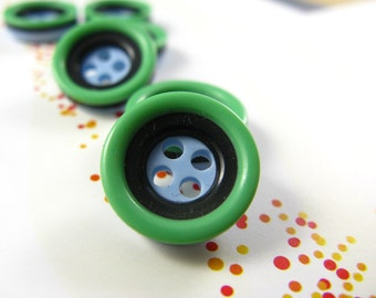 Cute Plastic Buttons -  Shades of Cyan Recessed Center Buttons. 0.51 inch.10 in a set