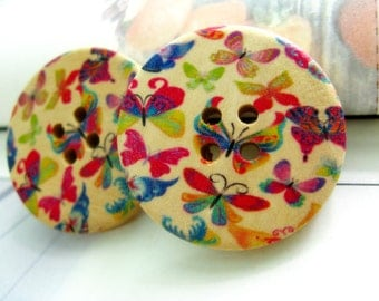 Butterfly Wooden Buttons -  Butterflies in Riotous Profusion Picture Wooden Buttons. 1.18 inch. 6 in a set