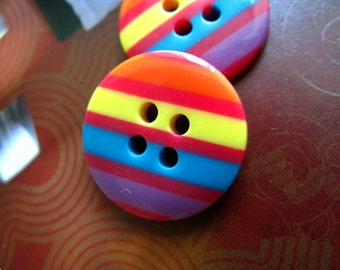 Fresh 10 Pieces of Rainbow Color Candy Buttons, 2 holes. 0.71 inch