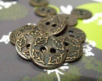Metal Buttons - Four Leafs Metal Buttons , Antique Brass Color , 2 Holes , 0.47 inch , 10 pcs