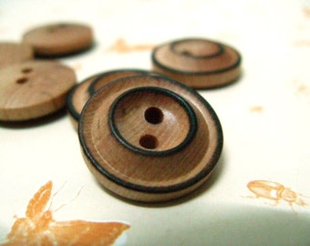 Wooden Buttons - Volcano shape Burned Edge Wood Buttons, 0.71 inch. 10 in a set
