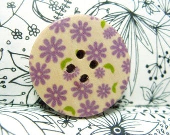 Wooden Buttons - Scattered Purple Flowers Picture Natural Wood Buttons, 1.18 inch (6 in a set)