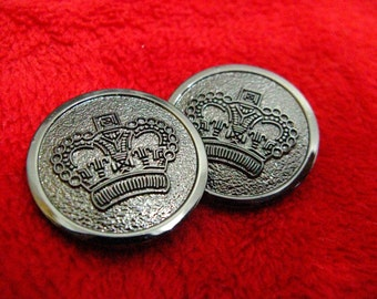 Metal Buttons - CROWN Metal Buttons , Pewter Color , Shank , 1.1 inch , 6 pcs