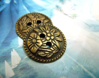 Flower Metal Buttons - 10 Pieces of Tropical Flowers Patterns 2 holes Copper Buttons. 0.79 inch