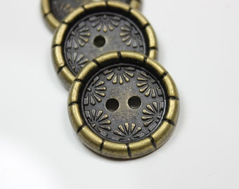 Metal Buttons - Daisy Border Metal Buttons , Antique Brass Color , 2 Holes , 0.79 inch , 10 pcs