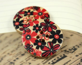 Flower Wooden Buttons - 6 pieces of Aesthetic Red Bouquet Painting Wooden Buttons, 1.18 inch