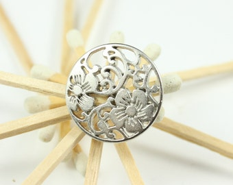 Metal Buttons - Flower Vine Metal Buttons , Shiny Silver Color , Shank , 0.71 inch , 10 pcs