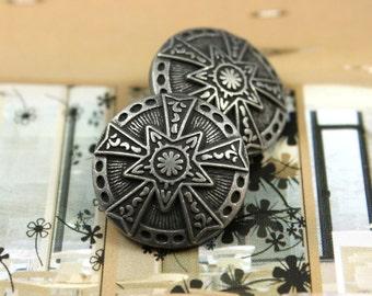 Metal Buttons - Star Emblem Metal Buttons , Retro Silver Color , Shank , 0.83 inch , 6 pcs