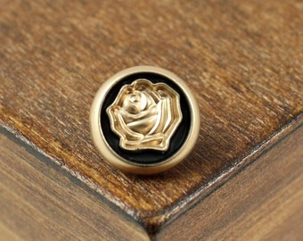 Metal Buttons - Rose Intaglio Metal Buttons , Pearl Gold Color , Shank , 0.47 inch , 10 pcs